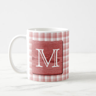 Custom Letter. Picture of Wood and Check Pattern. Coffee Mug