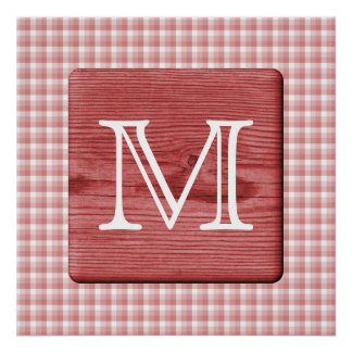 Custom Letter. Picture of Wood and Check Pattern. Print