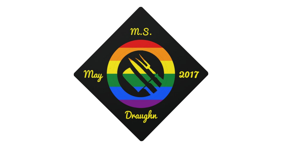 Custom Lgbt Pride Rainbow Culinary Arts Hosp Graduation Cap Topper