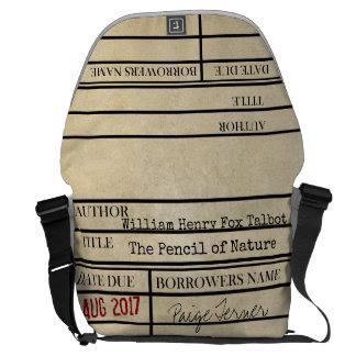 Custom Library Due Date Messenger Bag -School Book