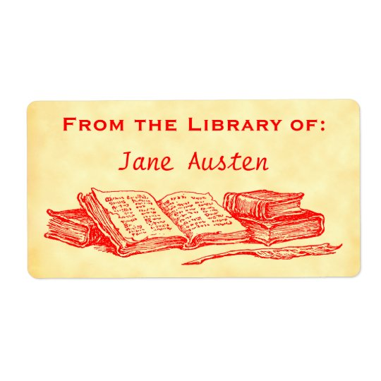 "Custom ""Library Of"" Red Vintage Books Label"