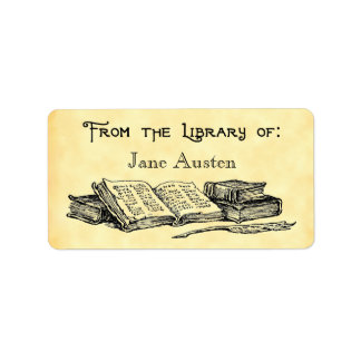 "Custom ""Library Of"" Vintage Books and Quill Label"