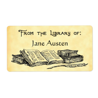 "Custom ""Library Of"" Vintage Books Label"