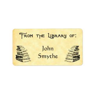 "Custom ""Library Of"" Vintage Books Tag Address Label"