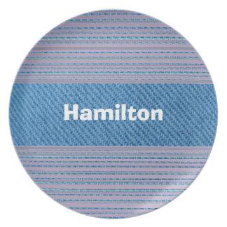 Custom Light Denim and Purple Striped Plate