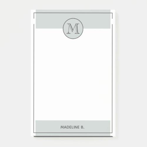 Custom Light Gray Basic Modern Black Border Post_it Notes