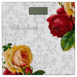 Custom Light Gray Damask and Floral