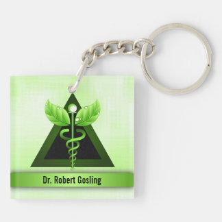 Custom Light Green Caduceus Alternative Medicine Keychain