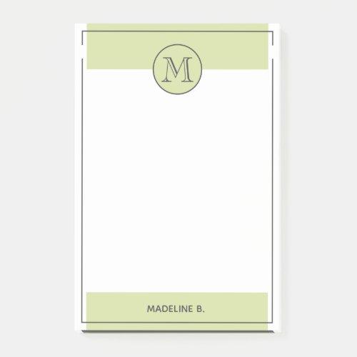 Custom Light Lemon Green Basic Modern Black Border Post_it Notes