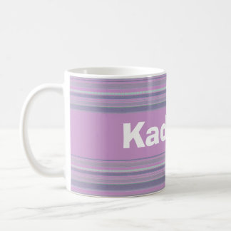 Custom Light Pastel Lavender and Lavender Striped Coffee Mugs