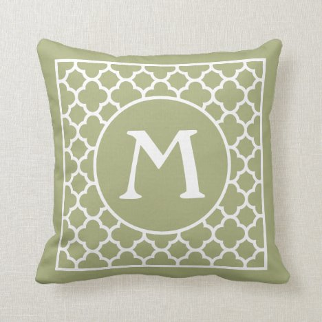 Custom Light Pastel Olive Green Retro Chic Pattern Throw Pillow
