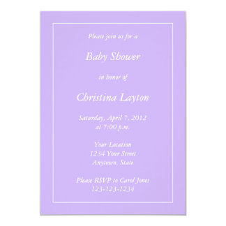 "Custom Light Purple Baby Shower Invitations 5"" X 7"" Invitation Card"
