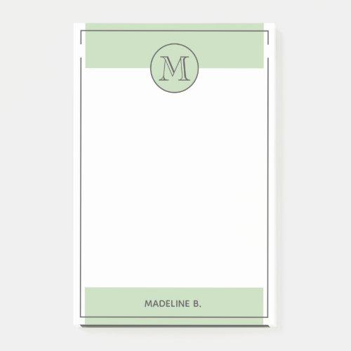 Custom Light Sage Green Basic Modern Black Border Post_it Notes