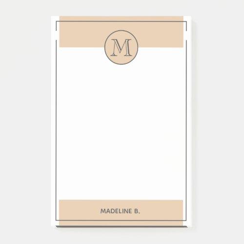 Custom Light Tan Brown Basic Modern Black Border Post_it Notes