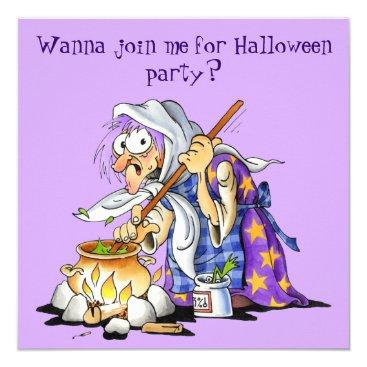 Halloween Themed Custom Lilac Halloween Invitations - Purple Witch