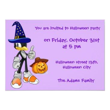 Halloween Themed Custom Lilac Halloween Party Invitations Penguin
