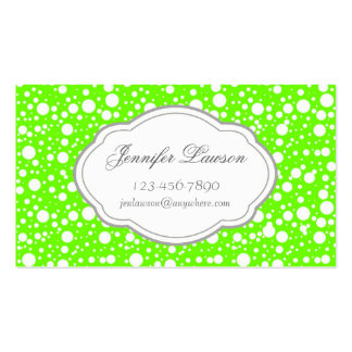 Custom Lime Green Bubbles Business Card Template