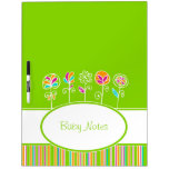 Custom Lime Green Flowers Colorful Baby Notes Dry Erase Boards