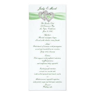 Custom Lime Hearts Menu Card