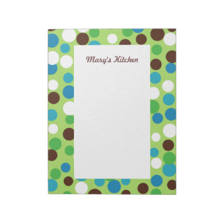 Custom Lime Turquoise Kitchen School Notepad Gift