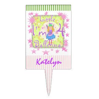 Custom Little Ballerina 4th Birthday Cake Topper