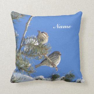 Custom Little Birds in a Snowy Tree Throw Pillow