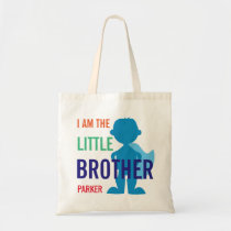 Custom little brother superhero silhouette boys tote bag