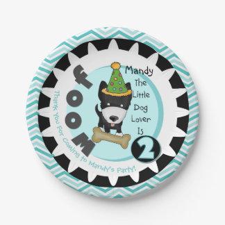 Custom Little Dog Lover 2nd Birthday Paper Plates