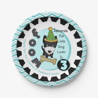 Custom Little Dog Lover 3rd Birthday Paper Plates
