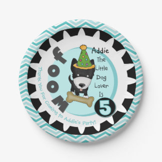 Custom Little Dog Lover 5th Birthday Paper Plates
