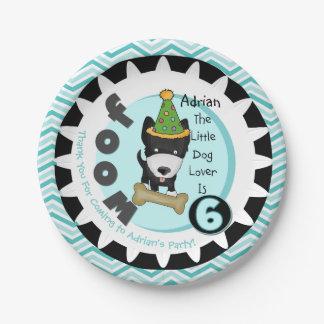 Custom Little Dog Lover 6th Birthday Paper Plates