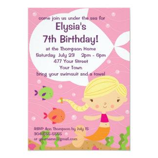 Custom Little Girls Mermaid Birthday Party 5x7 Paper Invitation Card