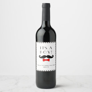 Custom Little Man It's A Boy Mustache Red Bow Wine Label