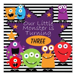 "Custom Little Monster Birthday Invites 5.25"" Square Invitation Card"
