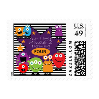 Custom Little Monster Birthday Postage  Stamps