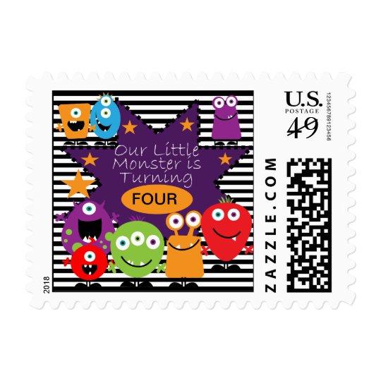 Custom Little Monster Birthday Postage  Stamps