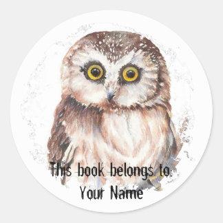 Custom Little Owl - Book Plate Round Sticker