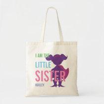 Custom little sister superhero silhouette girls tote bag