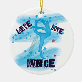 Custom Live Love Dance Blue Dancer Double-Sided Ceramic Round Christmas Ornament
