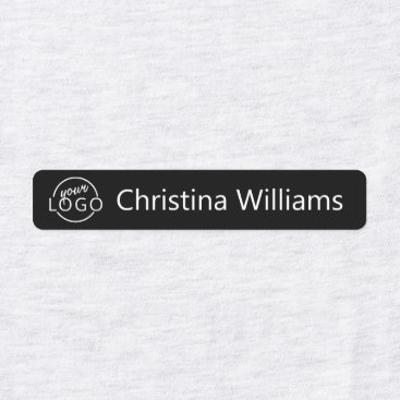 Custom logo and text black fabric clothing labels