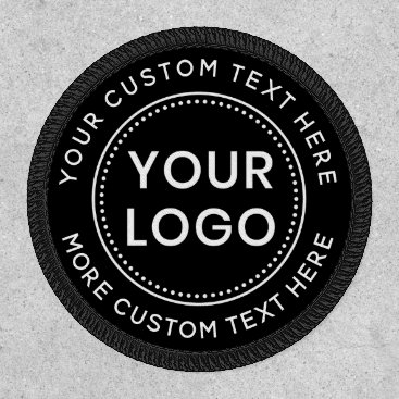 Custom logo and text round black patch