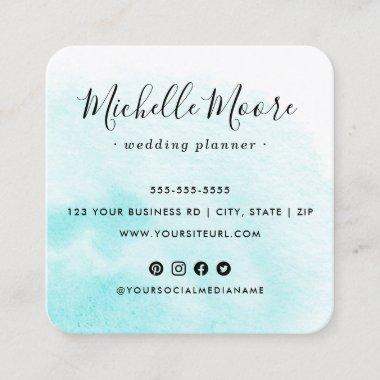 Custom logo aqua watercolor social media icons square business card