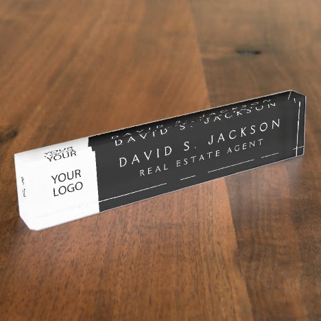 Custom Logo Black Elegant Professional Desk Name Plate