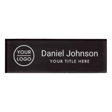 Professional Business Custom logo black professional magnetic name tags