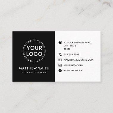 Custom logo black white modern social media icons business card