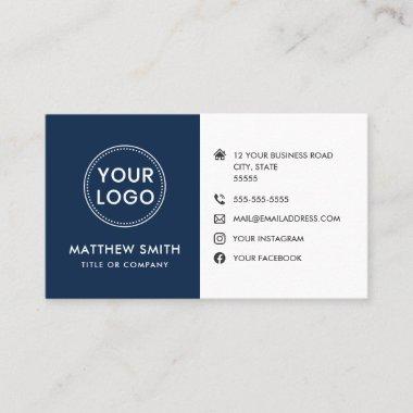 Custom logo blue white modern social media icons business card
