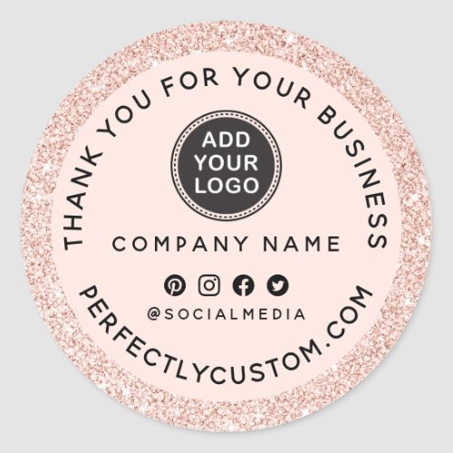 Custom logo blush pink glitter business thank you classic round sticker