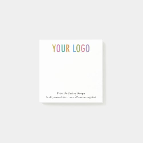 Custom Logo Branded From the Desk of Post-it Notes