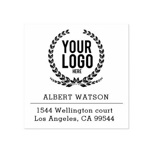 Custom Logo  Business Address Rubber Stamp