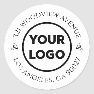 Custom Logo Chic Business Return Address Classic Round Sticker